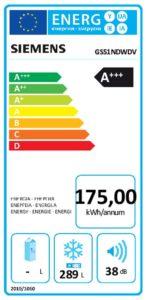 Diepvrieskast energielabel